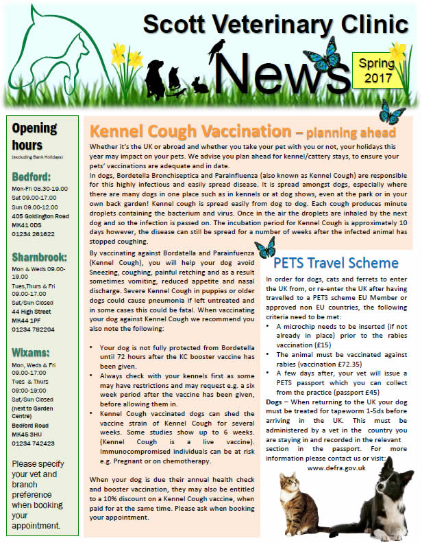 Spring newsletter 2017 Scott Vets Bedford